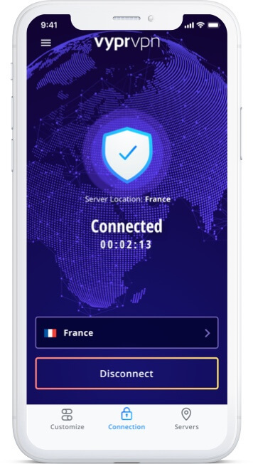 VPN app on iPhone device USA connection